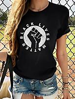 cheap -BLM Women's Tops Graphic T-shirt - Print Round Neck Basic Daily Spring Summer White XS S M L XL 2XL 3XL 4XL