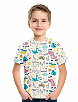 cheap -Kids Boys' Basic Animal Print Short Sleeve Tee Beige