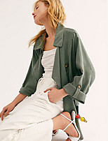 cheap -Women's Trench Coat Daily Regular Solid Colored Orange / Green S / M / L