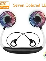 cheap -LITBest X8 Neckband Headphones Neck Fans Summer Outdoor Wireless Bluetooth 5.0 Stereo Headphones LED Color Fans 2000mAh Rechargeable