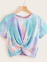 cheap -Women's T-shirt Tie Dye Tops Rainbow / Short Sleeve