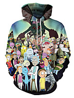 cheap -Inspired by Rick and Morty Cosplay Costume Hoodie Polyster Print Printing Hoodie For Men's / Women's