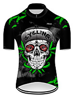 cheap -21Grams Men's Short Sleeve Cycling Jersey Nylon Polyester Black / Green Novelty Leaf Skull Bike Jersey Top Mountain Bike MTB Road Bike Cycling Breathable Quick Dry Ultraviolet Resistant Sports