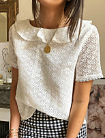 cheap -Women's Blouse Solid Colored Tops Shirt Collar Daily White S M L XL