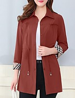 cheap -Women's Trench Coat Daily Long Solid Colored Red / Army Green / Brown M / L / XL