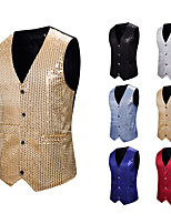cheap -Plague Doctor Disco Masquerade Vest Waistcoat Men's Sequins Sequin Costume Golden / Black / Red Vintage Cosplay Event / Party Sleeveless