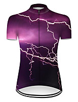 cheap -21Grams Women's Short Sleeve Cycling Jersey Nylon Polyester Violet 3D Lightning Gradient Bike Jersey Top Mountain Bike MTB Road Bike Cycling Breathable Quick Dry Ultraviolet Resistant Sports Clothing