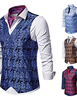 cheap -Plague Doctor Vintage Gothic Steampunk Masquerade Vest Waistcoat Men's Jacquard Costume Red / Navy Blue / LightBlue Vintage Cosplay Event / Party Sleeveless