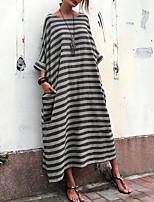 cheap -Women's Shift Dress Midi Dress - Short Sleeves Striped Summer Casual Vintage Daily 2020 White Black S M L XL XXL XXXL