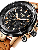 cheap -LIGE Men's Sport Watch Quartz Modern Style Stylish Leather Water Resistant / Waterproof Analog Casual Big Face - Golden / Brown Black+Gloden Black