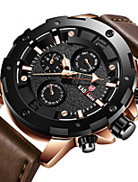 cheap -Men's Sport Watch Quartz Modern Style Stylish Leather Water Resistant / Waterproof Analog Casual Big Face - Black Brown Coffee