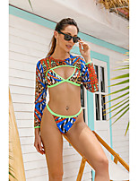 cheap -Women's Triangle Cheeky Bikini Tankini Swimwear Swimsuit - Geometric Print S M L Green