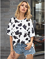 cheap -Women's T-shirt Color Block Tops Round Neck Daily White XS S M L