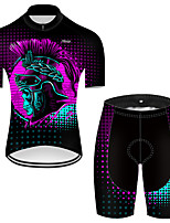 cheap -21Grams Men's Short Sleeve Cycling Jersey with Shorts Nylon Polyester Black / Red 3D Novelty Skull Bike Clothing Suit Breathable 3D Pad Quick Dry Ultraviolet Resistant Reflective Strips Sports 3D