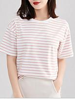cheap -Women's T-shirt Striped Round Neck Tops Blushing Pink Light gray Light Blue