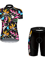 cheap -21Grams Women's Short Sleeve Cycling Jersey with Shorts Nylon Polyester Black / Blue Butterfly Floral Botanical Bike Clothing Suit Breathable 3D Pad Quick Dry Ultraviolet Resistant Reflective Strips