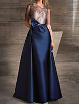 cheap -A-Line Color Block Elegant Engagement Formal Evening Dress Illusion Neck Half Sleeve Floor Length Lace Satin with Bow(s) 2020