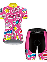 cheap -21Grams Women's Short Sleeve Cycling Jersey with Shorts Nylon Polyester Pink Heart Stars Funny Bike Clothing Suit Breathable 3D Pad Quick Dry Ultraviolet Resistant Reflective Strips Sports Heart