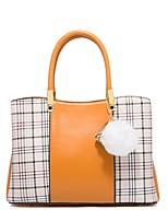 cheap -Women's Zipper PU Top Handle Bag Leather Bags Color Block Wine / White / Black