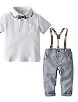 cheap -Kids Boys' Basic Solid Colored Short Sleeve Clothing Set White