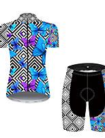 Недорогие -21Grams Жен. С короткими рукавами Велокофты и велошорты Нейлон Полиэстер Черный / синий Клетки Бабочка Велоспорт Наборы одежды Дышащий 3D / Эластичная / Горные велосипеды / Шоссейные велосипеды