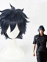 cheap -Cosplay Wig Noctis Lucis Caelum Final Fantasy Straight Cosplay Layered Haircut Wig Short Blue Synthetic Hair 14 inch Men's Anime Cosplay Cool Blue