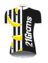 cheap -21Grams Women's Short Sleeve Cycling Jersey Nylon Polyester Black / Yellow Fruit Banana Bike Jersey Top Mountain Bike MTB Road Bike Cycling Breathable Quick Dry Ultraviolet Resistant Sports Clothing