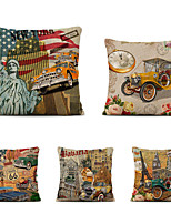 cheap -Set of 5 Linen Pillow Cover Holiday Modern Christmas Vintage Throw Pillow
