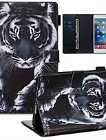 cheap -Case For Apple iPad Mini 3/2/1 / iPad Mini 4 / iPad Mini 5 Wallet / Card Holder / with Stand Full Body Cases Black and White Tiger PU Leather / TPU
