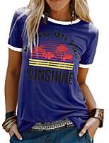 cheap -Women's T-shirt Letter Tops Round Neck Daily Summer Wine Blue Yellow S M L XL 2XL