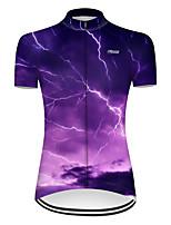 Недорогие -21Grams Жен. С короткими рукавами Велокофты Нейлон Полиэстер Фиолетовый 3D Lightning Градиент Велоспорт Джерси Верхняя часть Горные велосипеды Шоссейные велосипеды / Слабоэластичная / Дышащий