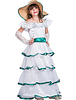 cheap -Cinderella Princess Outfits Flower Girl Dress Girls' Movie Cosplay A-Line Slip White Dress Gloves Hat Children's Day Masquerade Polyester
