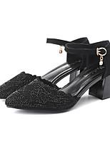 cheap -Women's Heels / Sandals Summer Block Heel Pointed Toe Daily Outdoor PU Black / Silver