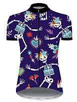 cheap -21Grams Women's Short Sleeve Cycling Jersey Nylon Polyester Blue / White Skull Floral Botanical Funny Bike Jersey Top Mountain Bike MTB Road Bike Cycling Breathable Quick Dry Ultraviolet Resistant