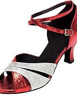 cheap -Women's Dance Shoes Latin Shoes Heel Cuban Heel Red / Performance