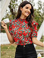cheap -Women's Blouse Floral Tops - Ruffle Round Neck Daily Summer Red S M L XL