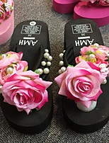 cheap -Women's Slippers & Flip-Flops 2020 Summer Flat Heel Round Toe Daily Floral PU Black / Fuchsia / Pink