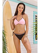 cheap -Women's Halter Cheeky Bikini Tankini Swimwear Swimsuit - Solid Colored Lace up S M L Blushing Pink