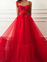 cheap -A-Line Glittering Sexy Engagement Formal Evening Dress Sweetheart Neckline Sleeveless Sweep / Brush Train Tulle with Beading 2020