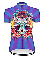 cheap -21Grams Women's Short Sleeve Cycling Jersey Nylon Polyester Red+Blue Novelty Skull Floral Botanical Bike Jersey Top Mountain Bike MTB Road Bike Cycling Breathable Quick Dry Ultraviolet Resistant