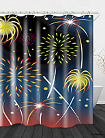 cheap -Painted Beautiful Fireworks Digital Print Waterproof Fabric Shower Curtain for Bathroom Home Decor Covered Bathtub Curtains Liner Includes with Hooks