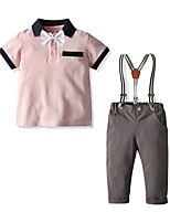 cheap -Kids Boys' Basic Solid Colored Short Sleeve Clothing Set Blushing Pink
