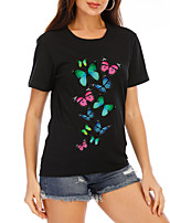 cheap -Women's T-shirt Graphic Prints Tops Round Neck Basic Daily Summer Black XS S M L XL 2XL
