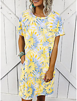 cheap -Women's Shift Dress Knee Length Dress - Short Sleeves Print Summer Casual 2020 Purple Yellow Light Green Light Blue S M L XL XXL XXXL XXXXL XXXXXL