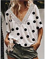 cheap -Women's T-shirt Polka Dot V Neck Tops Summer White Orange Green