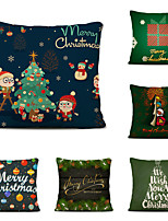 cheap -Set of 6 Merry Christmas Decorative Polyester Pillowcases Christmas Pillow Case Cover Santa Claus Elk Pillowcase