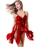 cheap -Women's Lace Backless Suits Nightwear Solid Colored Wine / Black One-Size