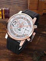 cheap -Men's Sport Watch Quartz PU Leather Black Altimeter Calendar / date / day Chronograph Analog Casual Skeleton - White Black