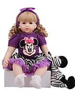 cheap -FeelWind 24 inch Reborn Doll Baby & Toddler Toy Reborn Toddler Doll Baby Girl Gift Cute Lovely Parent-Child Interaction Tipped and Sealed Nails 3/4 Silicone Limbs and Cotton Filled Body LV0102 with