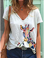 cheap -Women's T-shirt Animal Print V Neck Tops Summer White Blue Blushing Pink